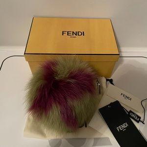 Fendi Pom Pom Bag Charm Fur Leather
